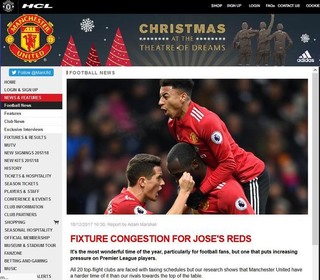 Manchester United Calendario.El Manchester United De La Premier League Calendario Oficial